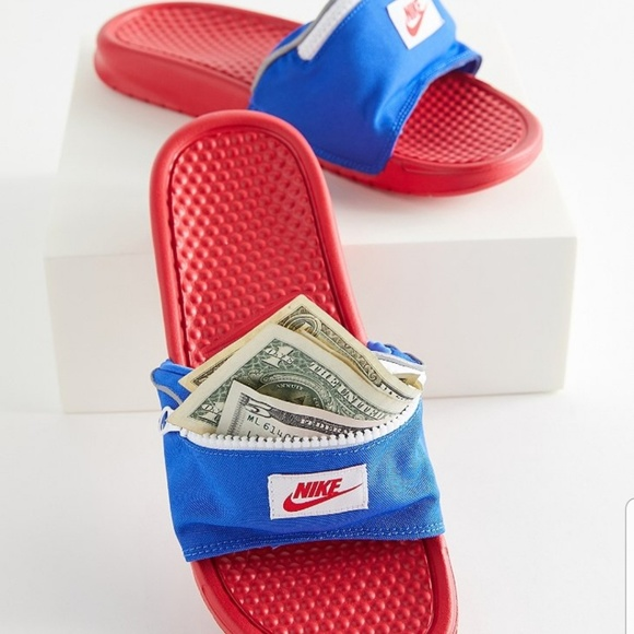 Nike Other - Nike JDI Fanny Pack Red and Blue Slides